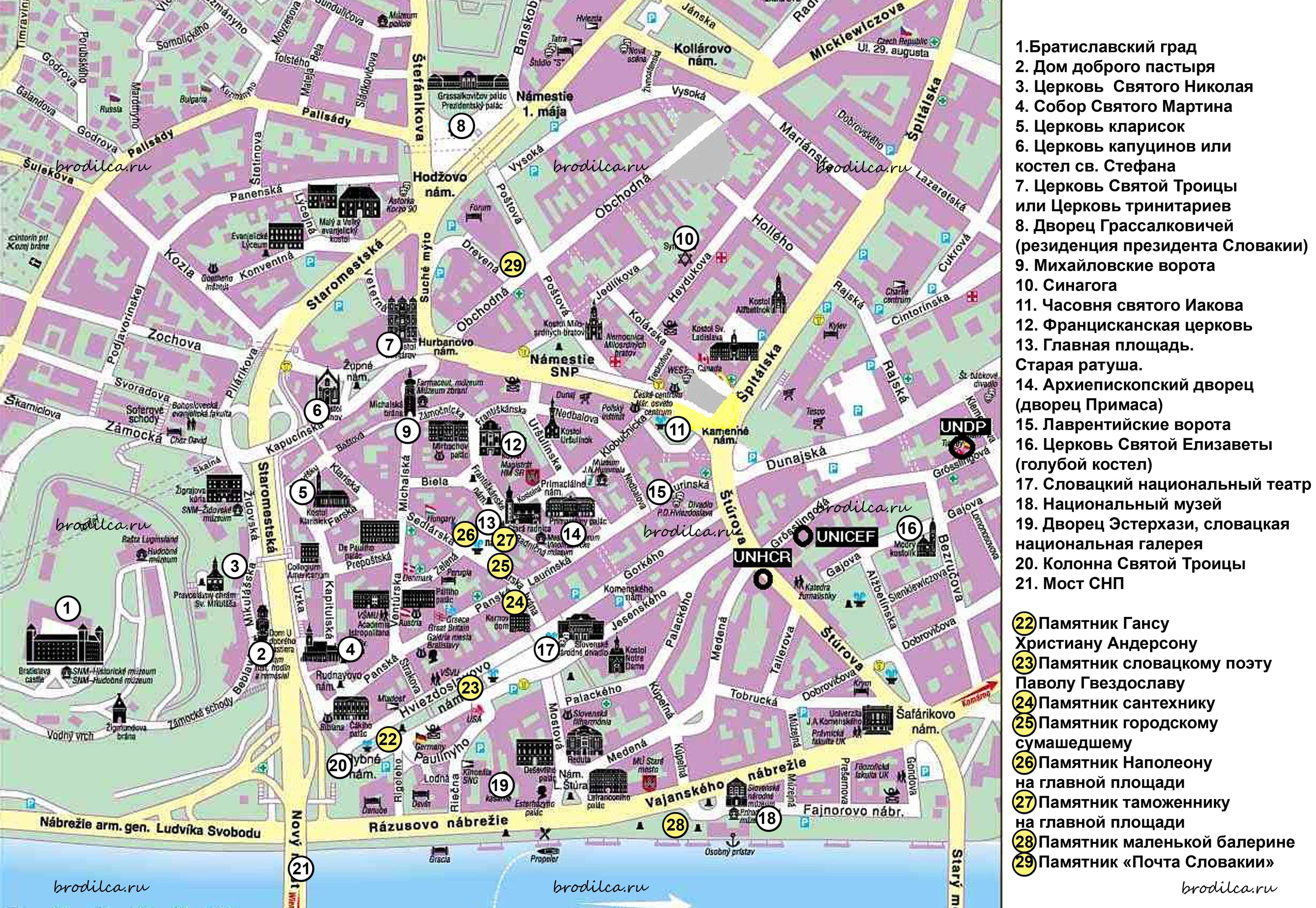 Карта достопримечательностей Братиславы